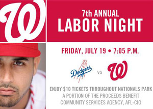 Labor Night at the Nats Tix Available
