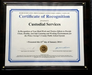 Prince George's County School Custodians' Efforts Recognized