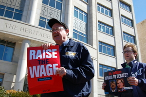 Unionists Take Minimum Wage Raise Fight to Heritage Foundation, Citadel of Radical Right
